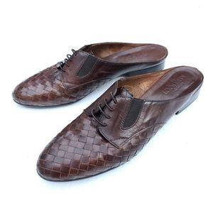 Sesto Meucci Brown Woven Leather Laced Mules